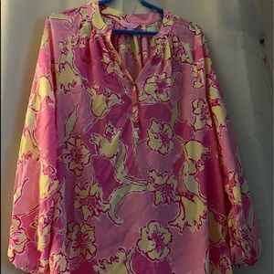 Lilly Pulitzer Floral Pink & Yellow Blouse EUC